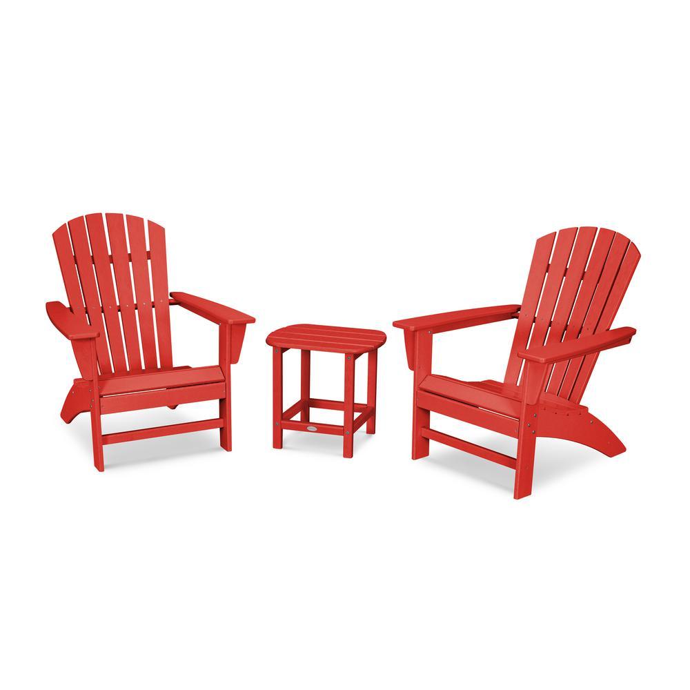 Grant Park Sunset Red 3-Piece Plastic Traditional Curveback Adirondack Patio Conversation Set