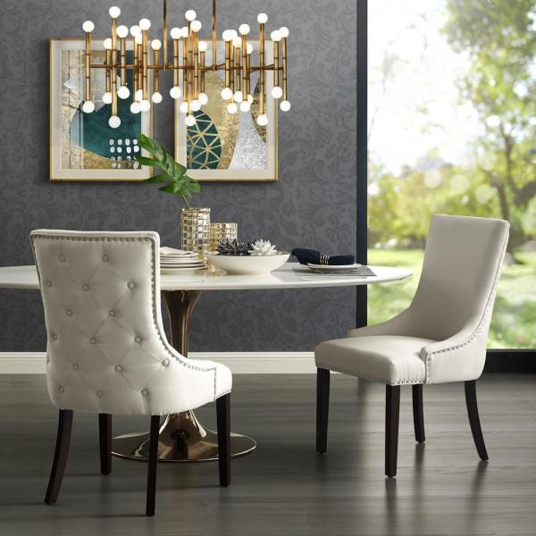 Piper Cream White Linen Nailhead Armless Dining Chair (Set Of 2) by Inspired Home