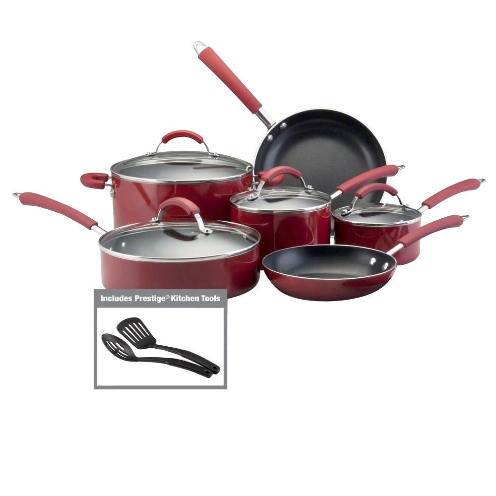 Farberware Millennium 12-Piece Red Cookware Set with Lids