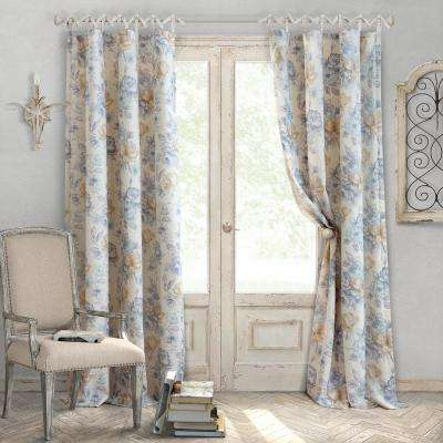 Annalise 52 in. W x 95 in. L Polyester Single Window Curtain Panel in Soft Blue