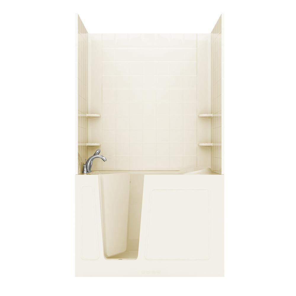 Rampart 4.5 ft. Walk-in Non-Whirlpool Bathtub in Biscuit with 6 in. Tile Wall Surround