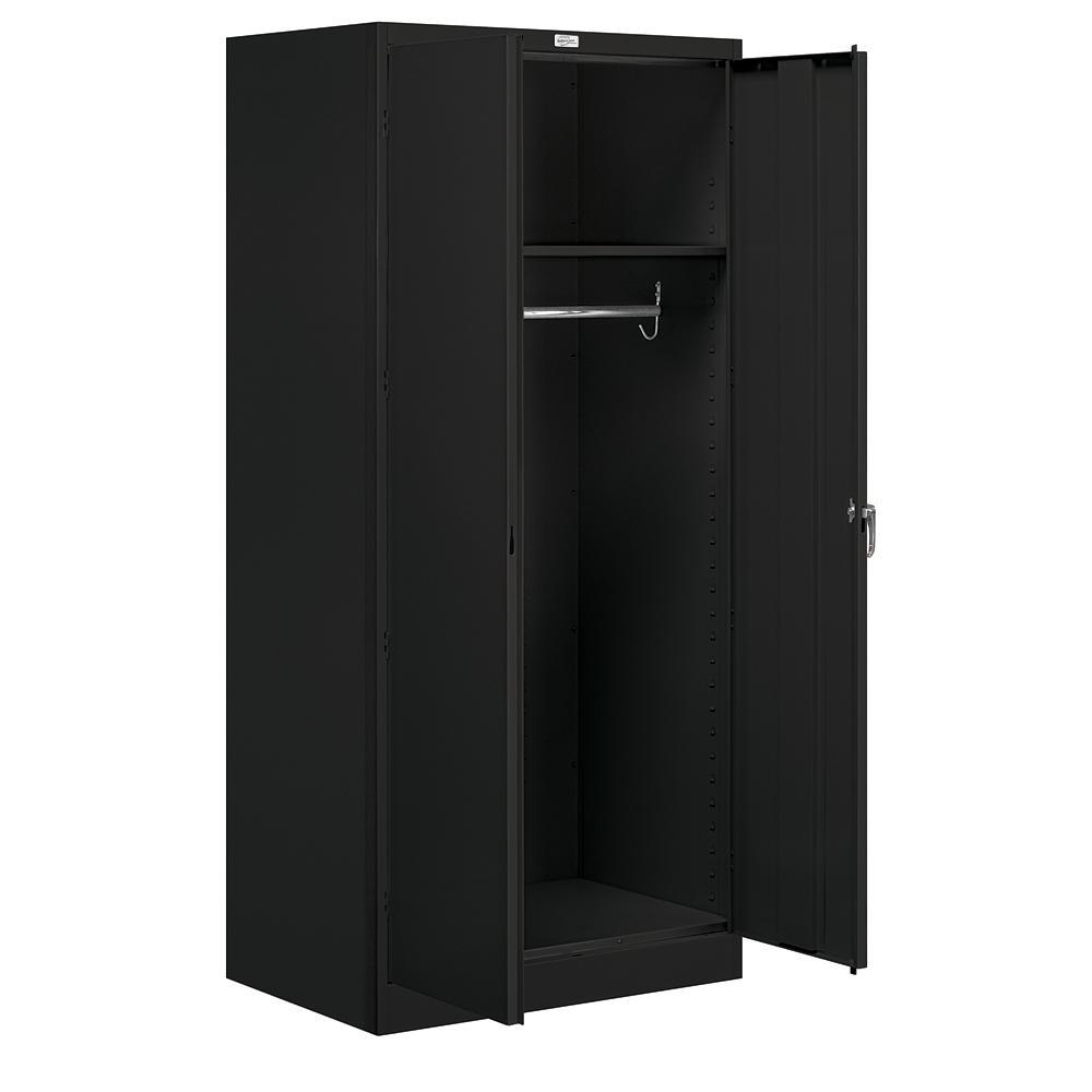 9100 Series 24 in. D x 36 in. W x 78 in. H Wardrobe Storage Cabinet Unassembled Steel Closet System in Black