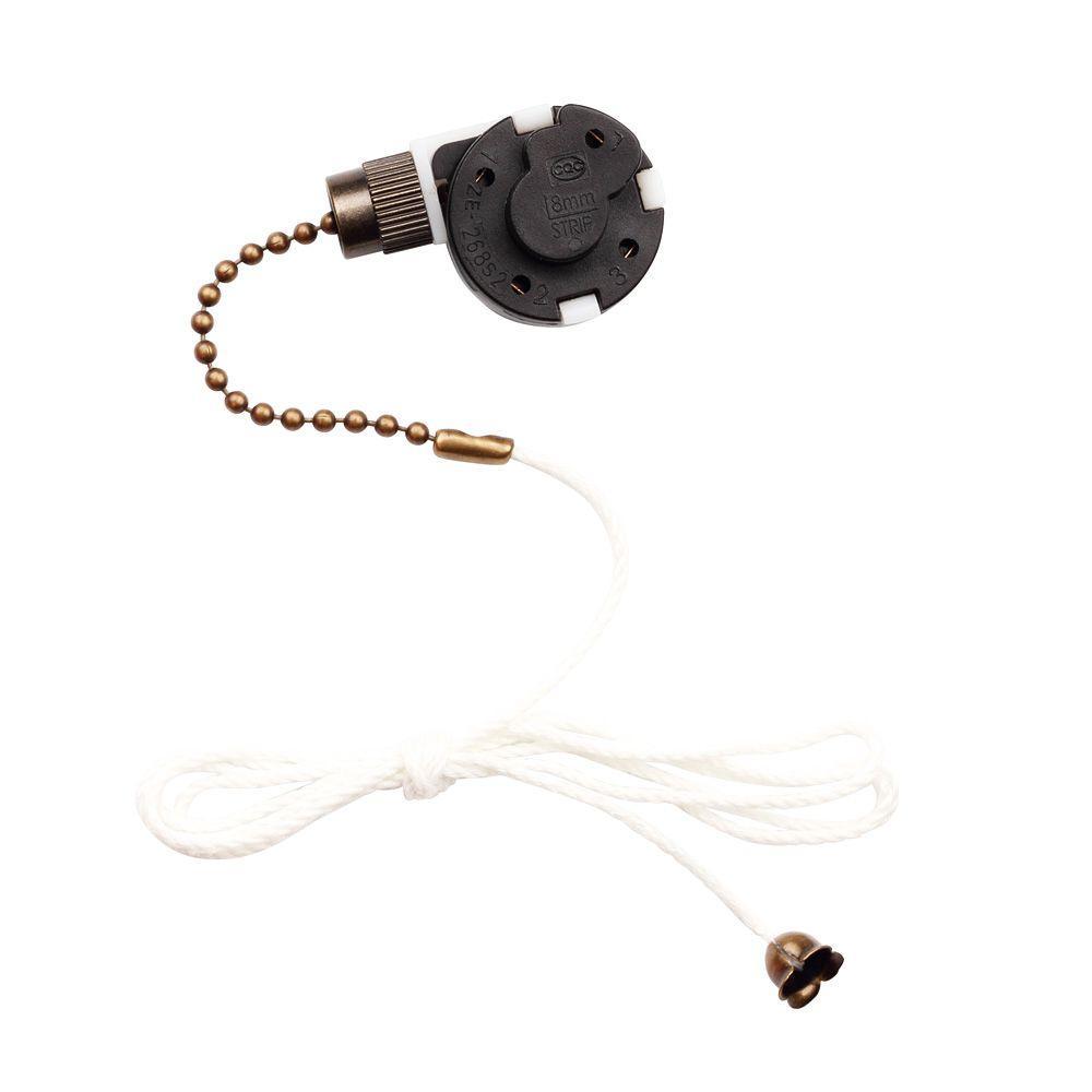 3-Speed Antique Brass Fan Switch