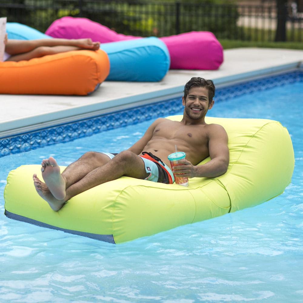 Ocean Blue Capri Inflatable Lounger in Lime-950308 - The Home Depot