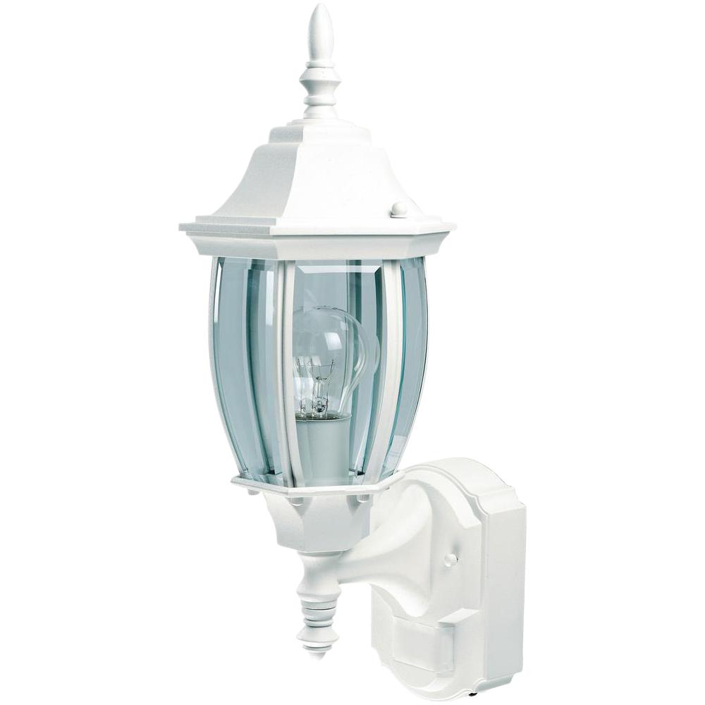 Hampton Bay Alexandria 180 White Motion Sensing Outdoor Decorative Wall Lantern Sconce Hbi 4192 Wh The Home Depot