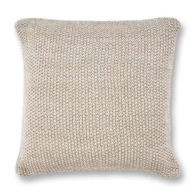 Grey Heather Knit 20 in. x 20 in. Decorative Pillow
