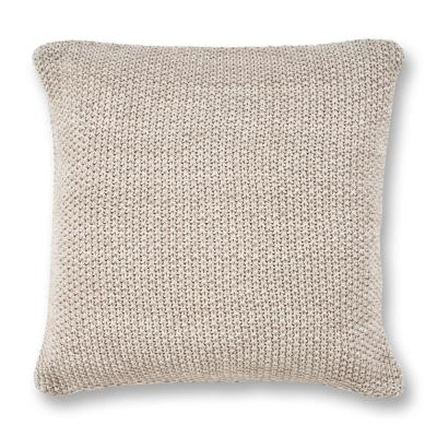 Grey Heather Knit 20 In X Decorative Pillow