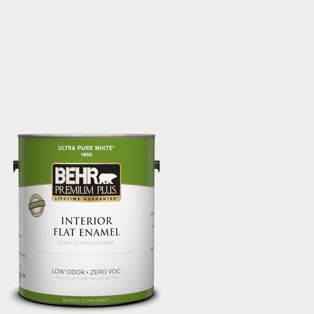 BEHR Premium Plus 1-gal. #PWN-53 White Mink Zero VOC Flat Enamel Interior Paint-DISCONTINUED