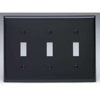 3-Gang 3-Toggles Standard Size Heavy Duty Nylon Wall Plate, Black