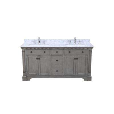 Stella 73 in. Double Bath Vanity in Antique Gray with Marble Vanity Top in Carrara White with White Basin