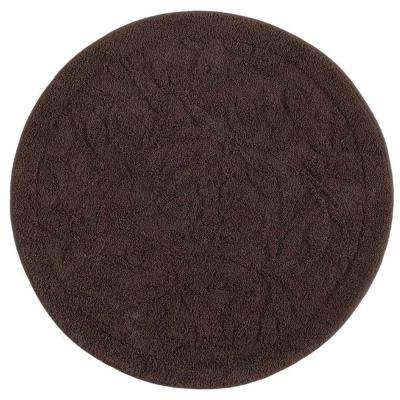 Foliage Chocolate 3 ft. x 3 ft. Round Indoor Accent Rug