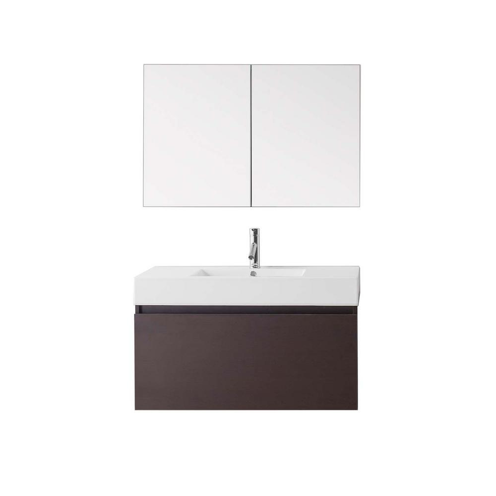 Virtu USA Zuri 39.37 in. W Vanity in Wenge with Poly-Marble Vanity Top in White with White Basin and Mirror