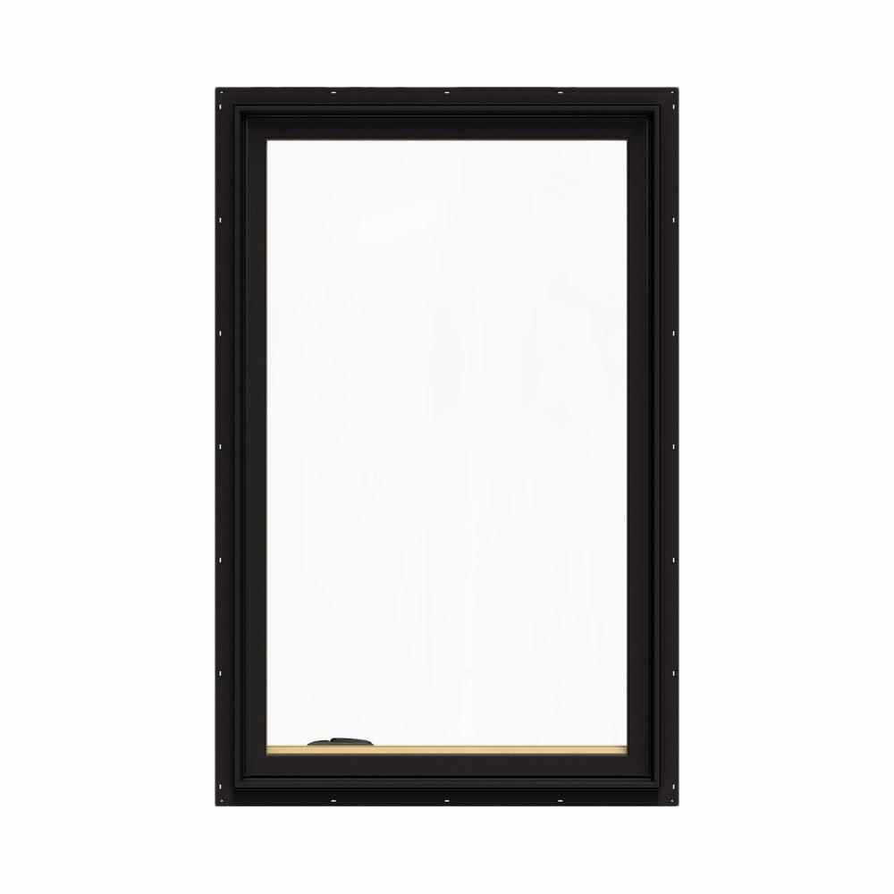 JELD-WEN 30.75 in. x 48.75 in. W-2500 Series Black Painted Clad Wood Left-Handed Casement Window with BetterVue Mesh Screen