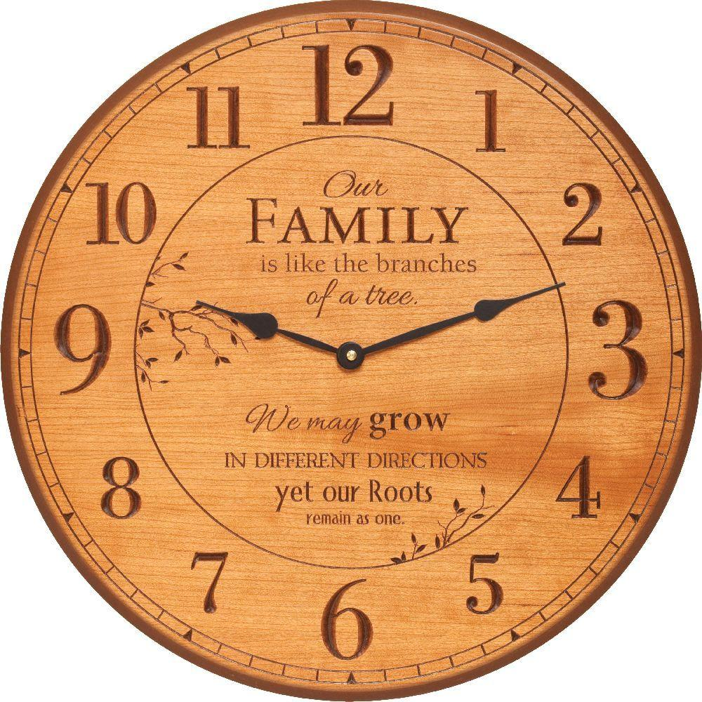 P. Graham Dunn Our Family 17 in. Carved Light Cherry Circular Clock