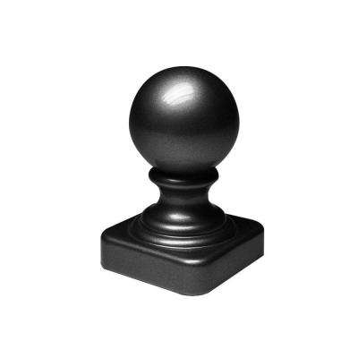 2-1/2 in. x 2-1/2 in. x 3-3/4 in. Black Aluminum Ball Post Top