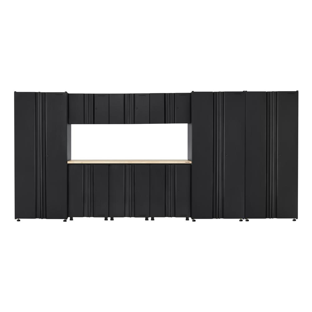 Husky Welded 163 in. W x 75 in. H x 19 in. D Steel Garage Cabinet Set in Black (10-Piece with Solid Wood Work Surface)