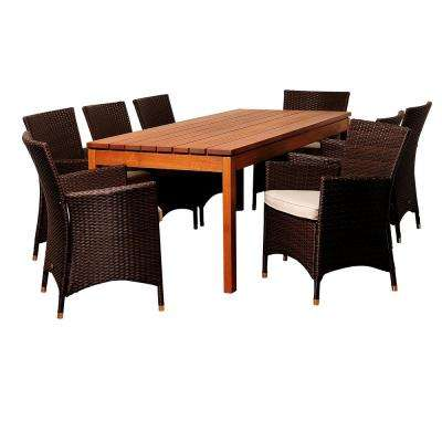 Myles 9-Piece Wood Outdoor Dining Set with Beige Cushions
