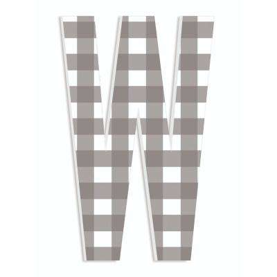 """12 in. x 18 in. """"Farmhouse Gingham Patterned Initial W"""" by Artist Daphne Polselli Wood Wall Art"""