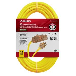 Husky 50 ft. 12/3 Lighted Triple Tap Extension Cord 76050HY Deals