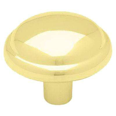 1 1/8 In. Polished Brass Domed Top Round Cabinet Knob