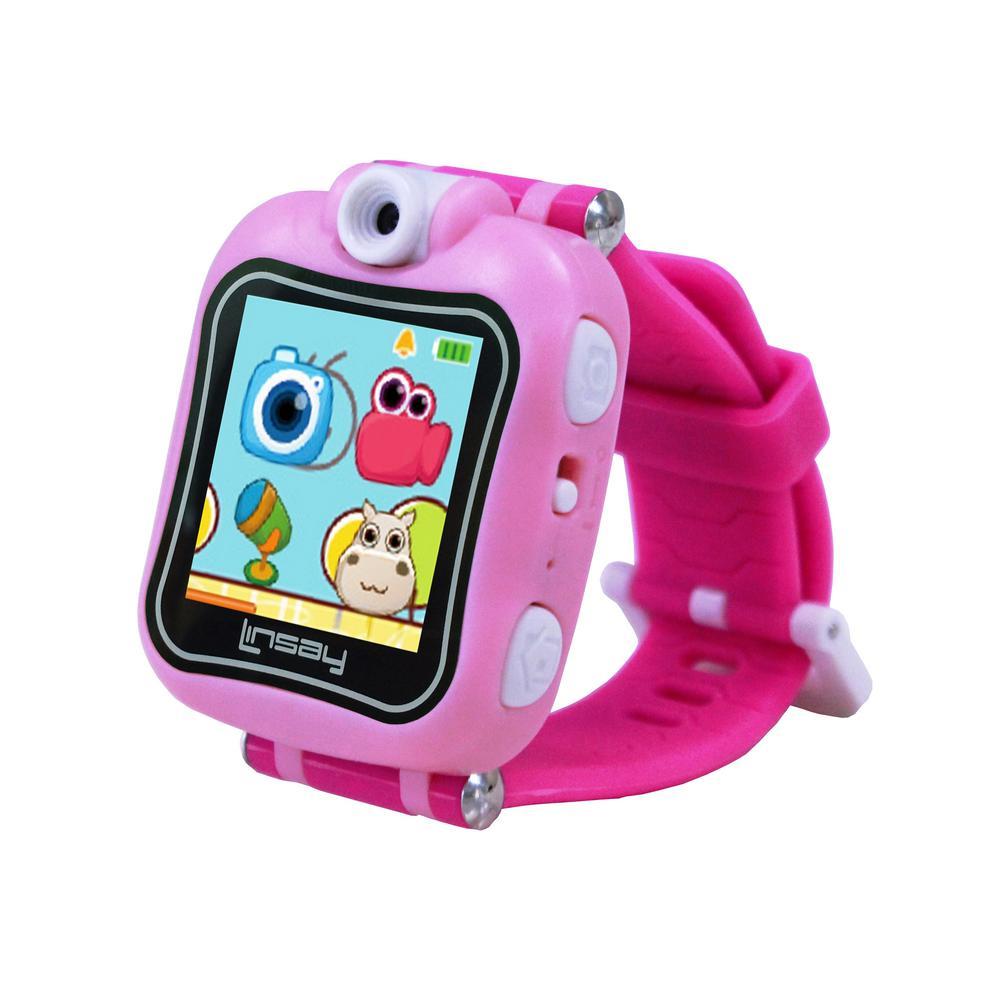 LINSAY 1.5 in. Smart Watch Kids Cam Selfie, Pink