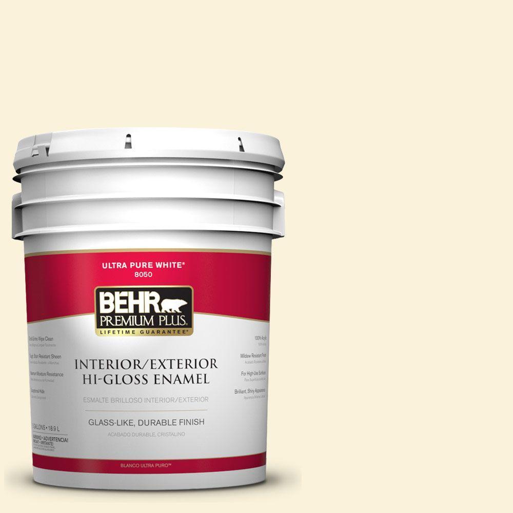 BEHR Premium Plus 5-gal. #380C-1 Sun Glint Hi-Gloss Enamel ...