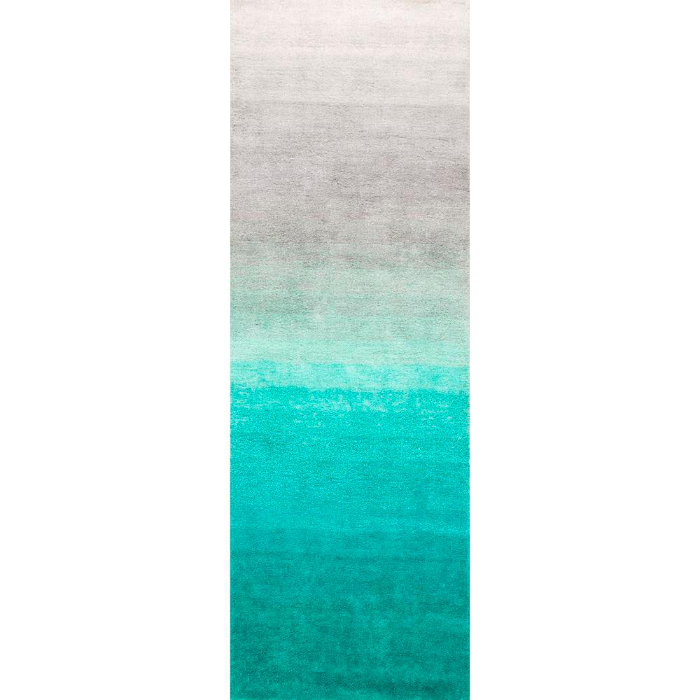 Nuloom Ombre Shag Turquoise 2 Ft 6 In X 8 Ft Runner