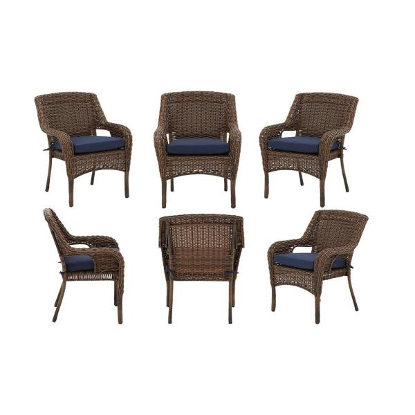 Cambridge Brown Stationary Resin Wicker Outdoor Dining Chairs with Blue Cushions- Chairs (6-Pack)
