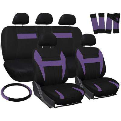 Polyester Seat Covers Set 26 in. L x 21 in. W x 48 in. H 17-Piece Seat Cover Set Purple and Black