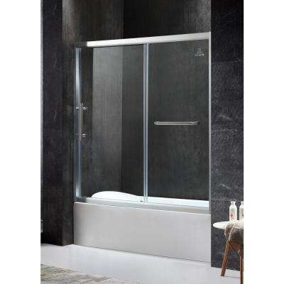 Keep 60.43 in. x 59.06 in. Framed Sliding Tub Door in Brushed Nickel with Handle
