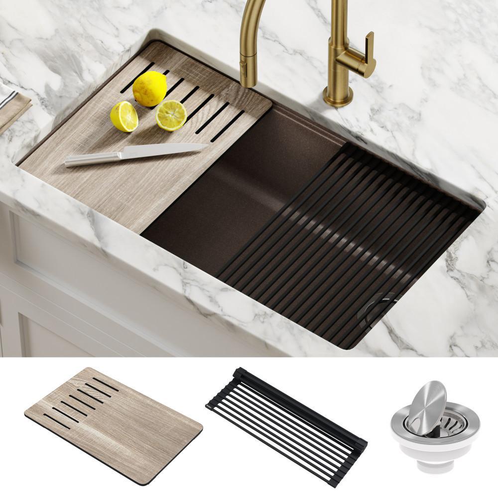 Bellucci Brown Granite Composite 32 in. Single Bowl Undermount Workstation Kitchen Sink with Accessories