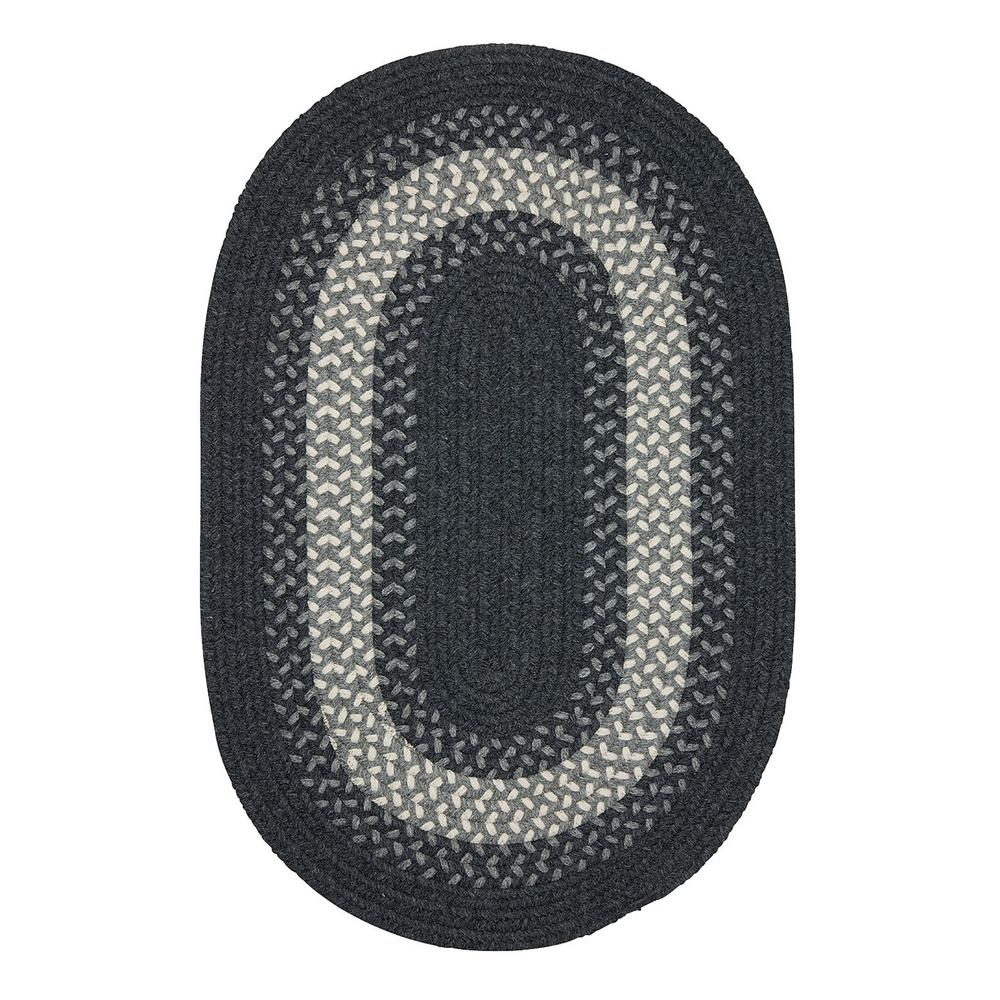 Chancery Charcoal 3 ft. x 5 ft. Oval Braided Area Rug
