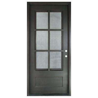 46 in. x 97.5 in. Craftsman Classic 6 Lite Painted Oil Rubbed Bronze Clear Wrought Iron Prehung Front Door