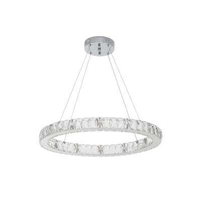 26-Watt Chrome Integrated LED Pendant with Clear Crystals