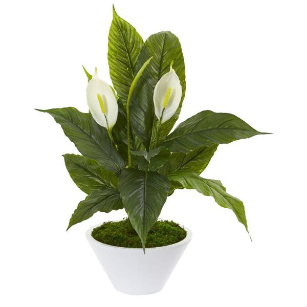 Nearly Natural Indoor 27 in. Spathiphyllum Artificial Plant in White Vase