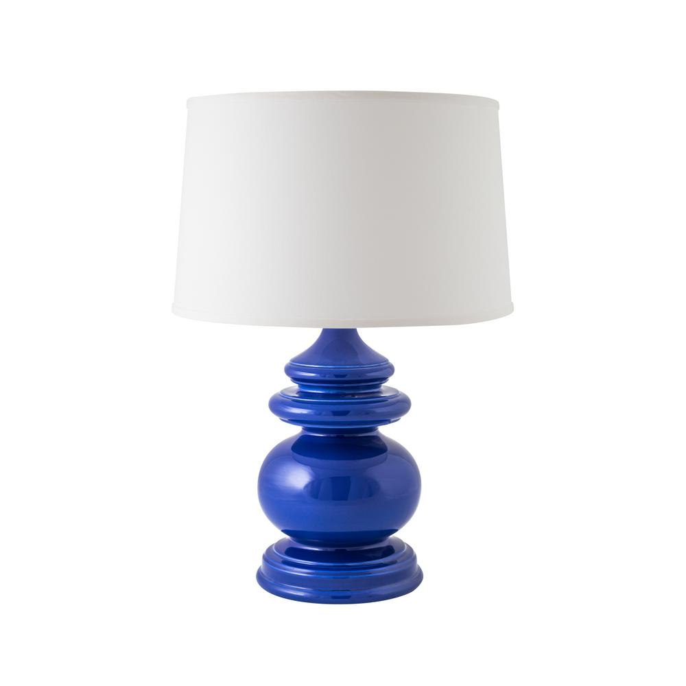 Cottage 26.5 in. Gloss Primary Blue Indoor Table Lamp