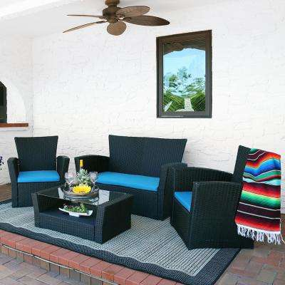 Brisbane 4-Piece Rattan Conversation Set with Blue Cushions