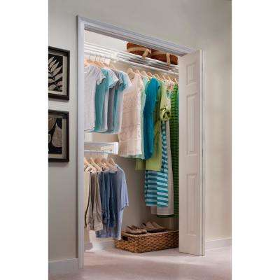 12 ft. Steel Closet Organizer Kit with 2-Expandable Shelf and Rod Units in White with End Bracket