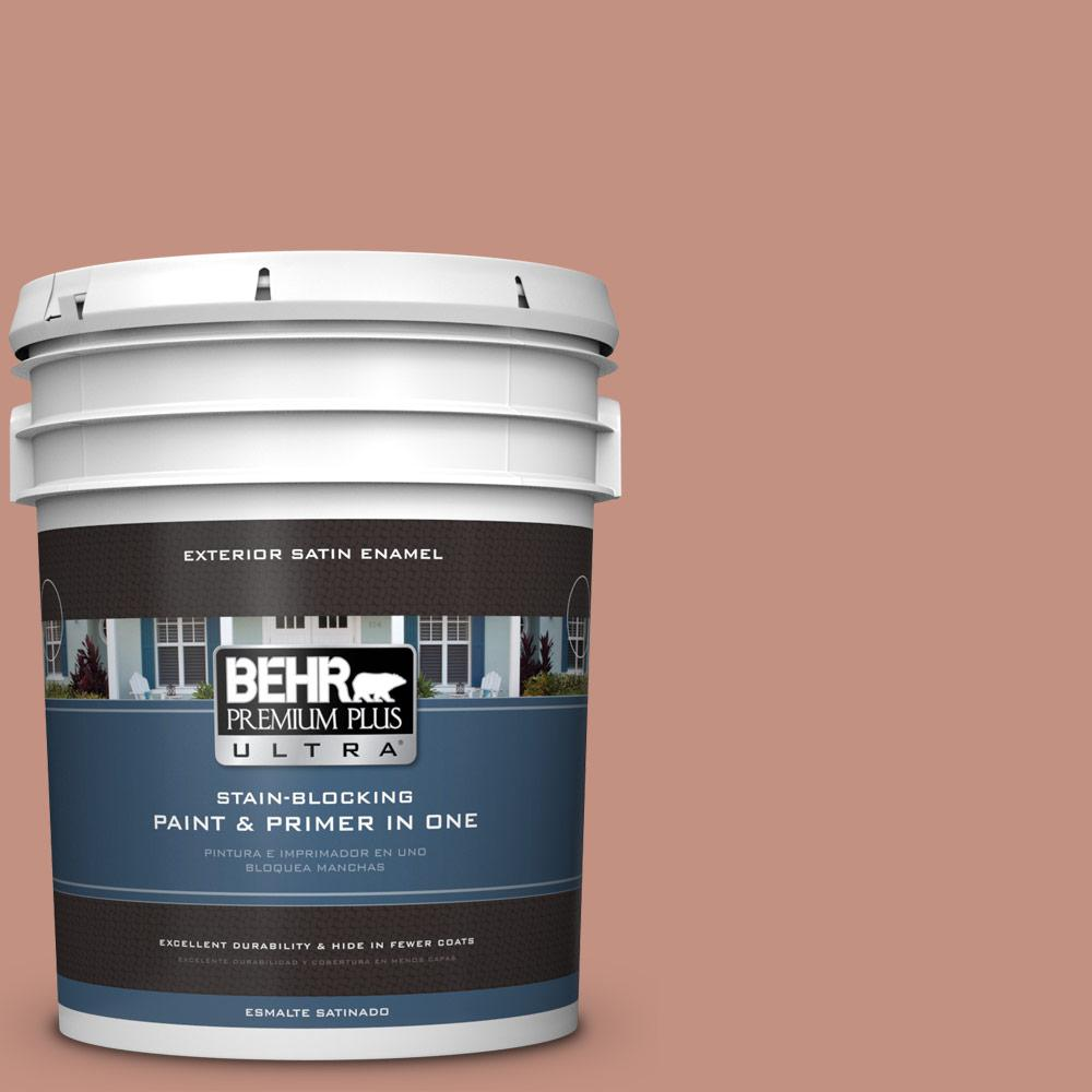 5 gal. #MQ1-51 Mesa Peach Satin Enamel Exterior Paint and Primer