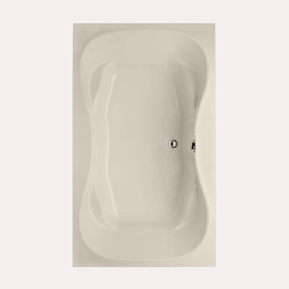 Studio Hourglass 5 ft. Reversible Drain Air Bath Tub in Biscuit