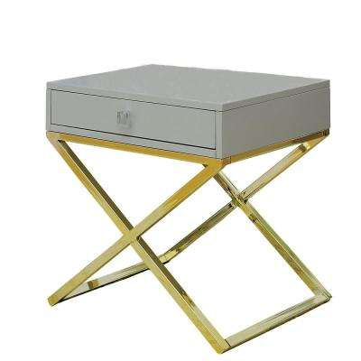 Rhona Gray Champagne Side Table with Storage Drawer