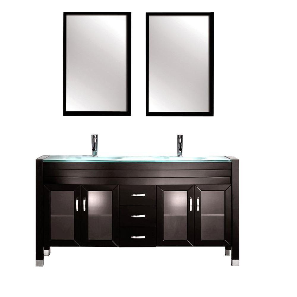 Kokols Amriel 63 In Double Vanity In Espresso With Tempered Glass Vanity Top In Aqua And Mirror