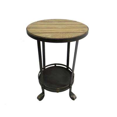 25 in. Brown Metal Wood Top Table