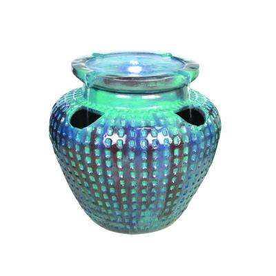 Ceramic Look Blue Watering Jar Fountain