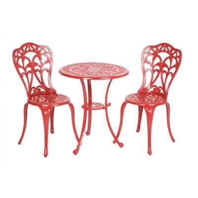 3-Piece Triora Lipstick Red Cast Aluminum Bistro Set with 24 in. Bistro Table and 34 in. Chairs