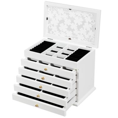 Large White Wooden Jewelry Box Cabinet Armoire Case with 5-Drawers