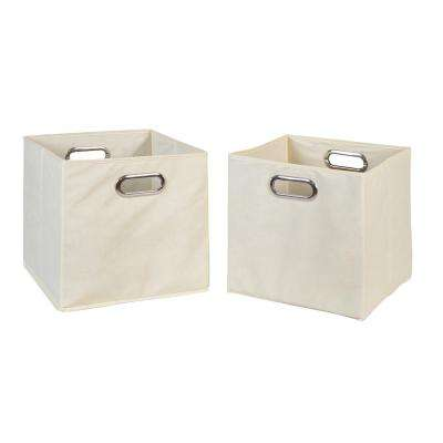 Cubo 12 in. x 12 in. Natural Foldable Fabric Bin (2-Pack)