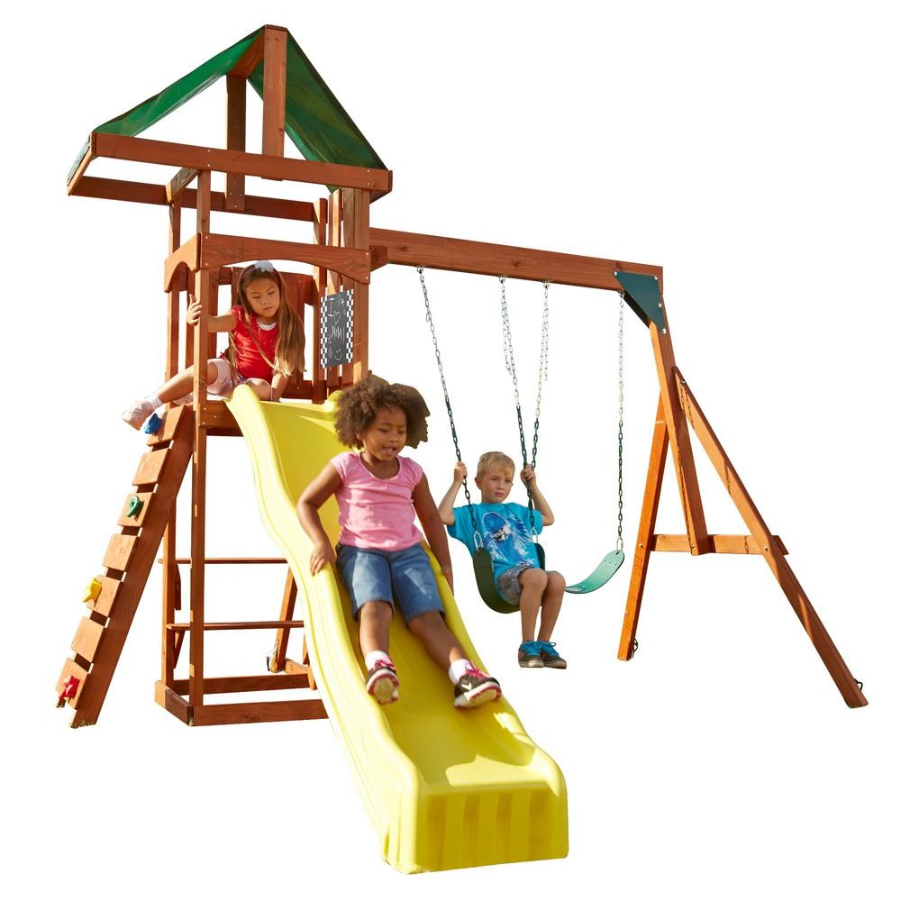 Swing-N-Slide Playsets Scrambler Deluxe Wood Complete Swing Set with Chalkboard