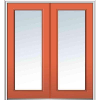 64 in. x 80 in. Classic Right-Hand Inswing Full Lite Clear Painted Fiberglass Smooth Prehung Front Door with Brickmould
