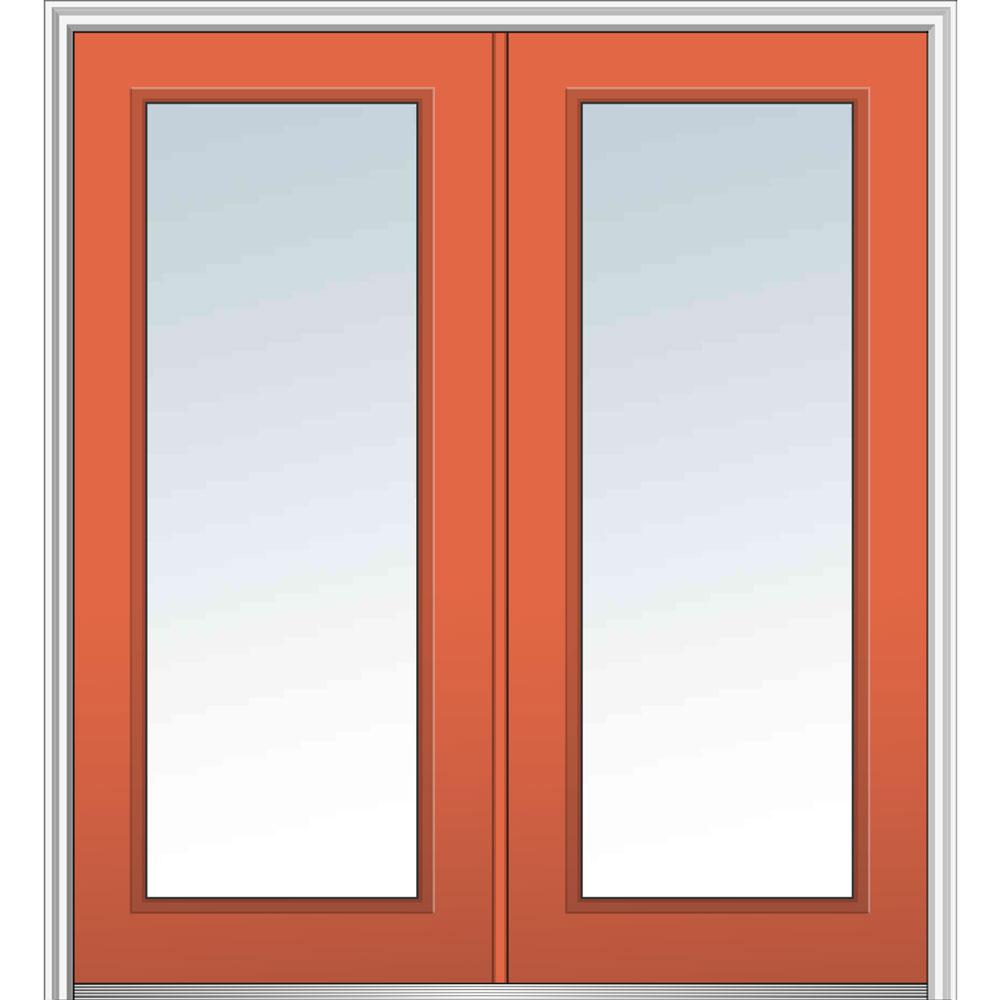 Mmi door 72 in x 80 in glass right hand full lite clear for Home depot steel doors with glass